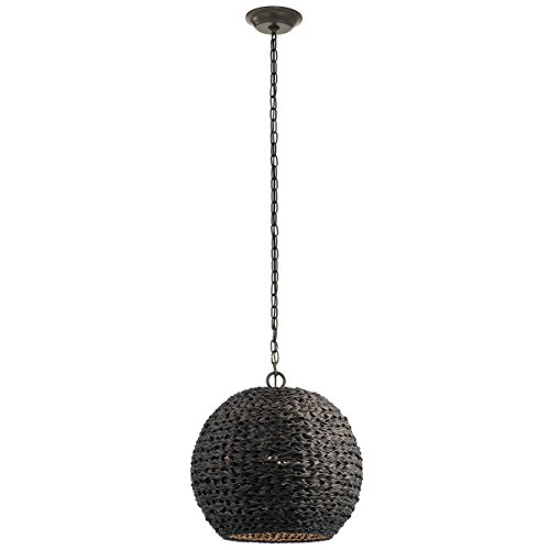 Outdoor Pendant 1 Light with Olde Bronze Finish Synthetic Wicker Medium 17 inch 60 -
