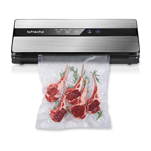 Vacuum Sealer Machine, Bifrecho Automatic Vacuum Sealing System for Food Preservation with Starter Kit, Food Saver Bags, Rolls, Dry Moist Modes, Led Indicator Light, Easy to Clean, Safety Certified