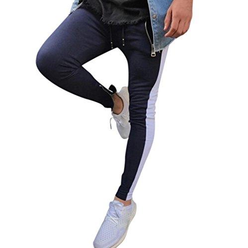 Sleepshirt Embroidered (Realdo Mens Slim Sports Trousers, Trousers Harem Zipper Sweatpants Slacks Casual Jogger Comfy Pant(Blue,Large))