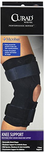 Curad Breathable Wrap-Around Hinged Knee Support, Large