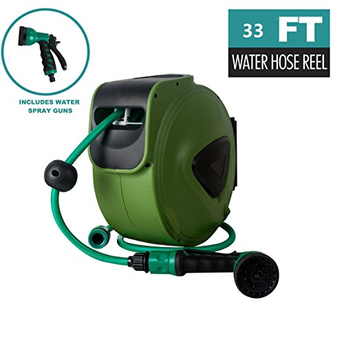 (Zinnor 32ft Water Hose Reel Green Retractable Water Garden Hose Reel Garden Hose Reel Water Drum Automatic Retractable Hose Reel for car wash)