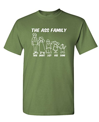 THE ASS FAMILY - dumb smart wise - Mens Cotton T-Shirt, M, Military (Wise Ass)