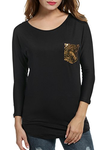 Sequined 3/4 Sleeve Top (Zeagoo Womens 3/4 Sleeve Sequined Pocket Blouse Casual Loose Tops T-ShirtBlack,M)