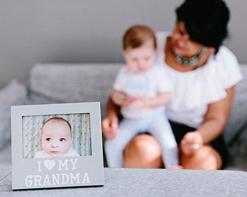 Pearhead I Love Grandma Keepsake Photo Frame and Baby Belly Sticker Gift Set, Gray by Pearhead (Image #1)