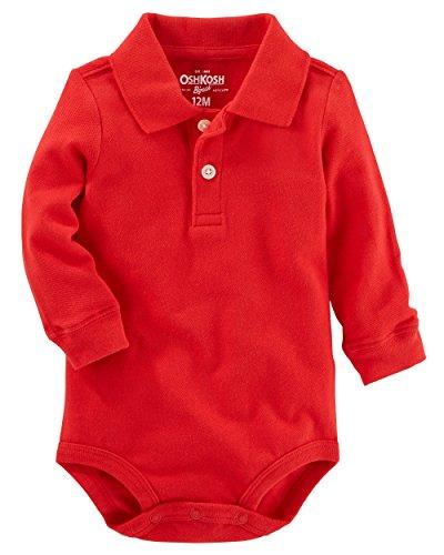 Polo Bodysuit - OshKosh BGosh Baby Boys Long Sleeve Polo Bodysuit, Red,6 Months