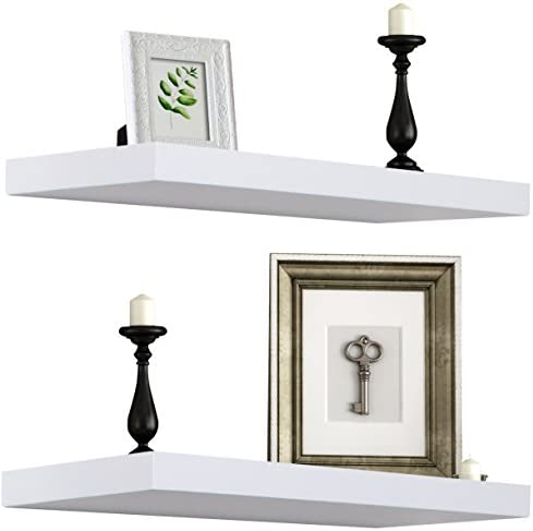 Sorbus Floating Shelf — Hanging Wall Shelves Decoration — Perfect Trophy Display, Photo Frames — Extra Long 24 Inch (White)