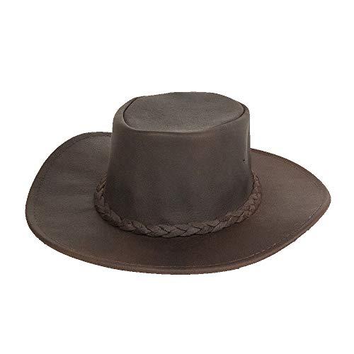 (Minnetonka Men's Foldable Leather Hat Dk Brown Medium)