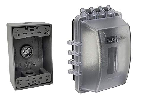 Sealproof 1-Gang Weatherproof Exterior In Use Outlet Cover and Box Kit - Single Gang Metallic Electrical Outlet Box with Three 1/2-Inch Holes and UL Extra Duty, Lockable, In Use Outdoor Outlet Cover