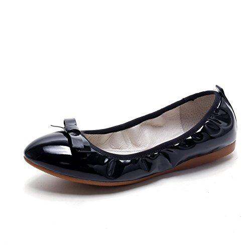 AllhqFashion Damen Rein PU Leder Ohne Absatz Rund Zehe Ziehen auf Flache Schuhe Schwarz
