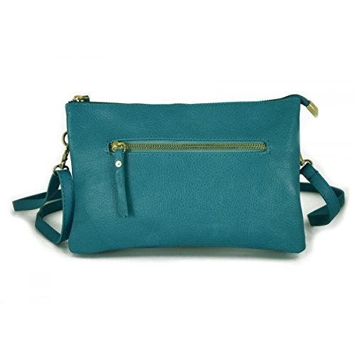 Pochette In Vera Pelle Con 2 Scomparti Colore Turchese - Pelletteria Toscana Made In Italy - Borsa Donna