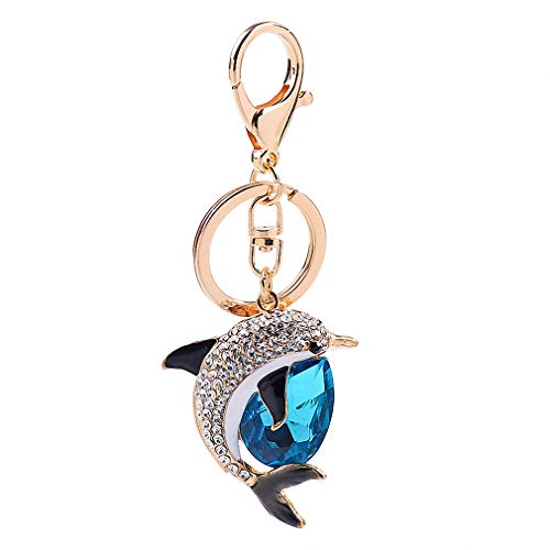 New Fashion Cute Crystal Dolphin Keychain Exquisite Rhinestone Dolphin Car Key Rings Female Bags Pendant Accessories Key Chains Blue