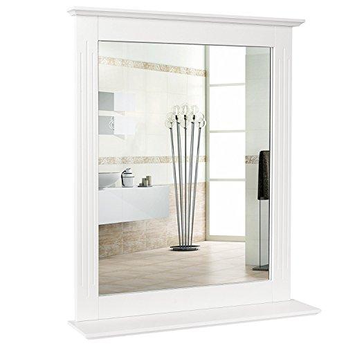 Homfa Espejo de Pared Espejo Bano Espejo Colgante para Dormitorio Bano Madera con 1 Balda Blanco 57X12X68cm