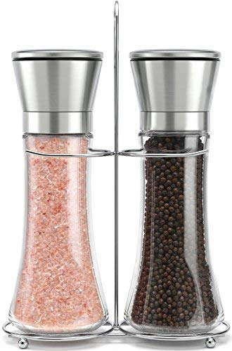 teel Salt and Pepper Grinder Set With Stand - Tall Salt and Pepper Shakers with Adjustable Coarseness - Salt Grinders and Pepper Mill Shaker Set ()