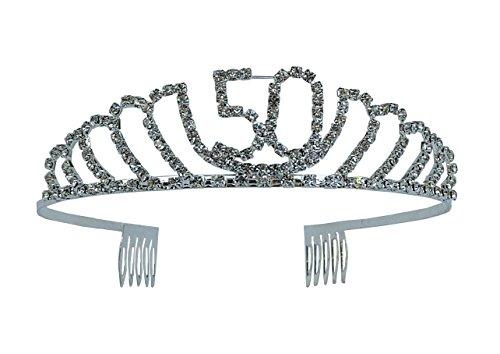 Happy Birthday Rhinestone Tiara - Premium Quality Metal Birthday Accessory (50th Birthday)]()