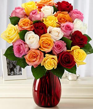 Two Dozen Rainbow Roses (with FREE glass vase) - Flowers