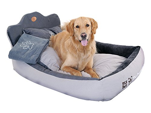 PLS Birdsong The Doggy Bed with Blanket, Extra Large, Gray, Bolster Dog Bed, Dog Beds for Large Dogs, Completely Washable