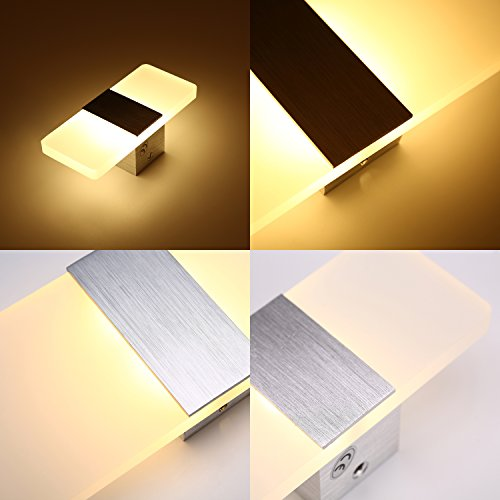 Topmo Modern Acrylic 12w LED Wall Sconces Aluminum Lights Decorative Lamps Night Light for Pathway, Staircase, Bedroom, Balcony ,Drive Way,cold white 840LM(6000K)29114.8CM by topmo (Image #7)