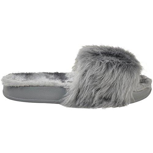 Moda Sete Delle Donne Piattaforma Piatta Faux Fur Slider Sandali Infradito Taglia Grigio Faux Fur