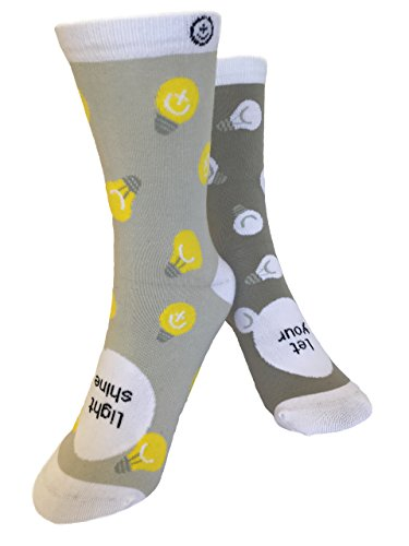 Inspirational socks | Sock Tonic | Socks with Sayings | Cotton Crew Socks for Men, Women and Teens | Let Your Light Shine -