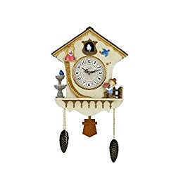 SMC 25 Inch Cuckoo Clock hourly chime quartz clock cartoon fairy tale resin wall clock pendulum bob living room bedroom children battery decoration