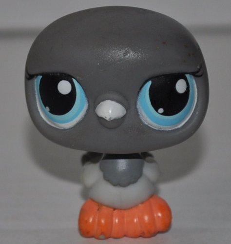 Pigeon #356 (Grey, Blue Eyes, black stripes on wings) Littlest Pet Shop (Retired) Collector Toy - LPS Collectible Replacement Single Figure - Loose (OOP Out of Package & Print)