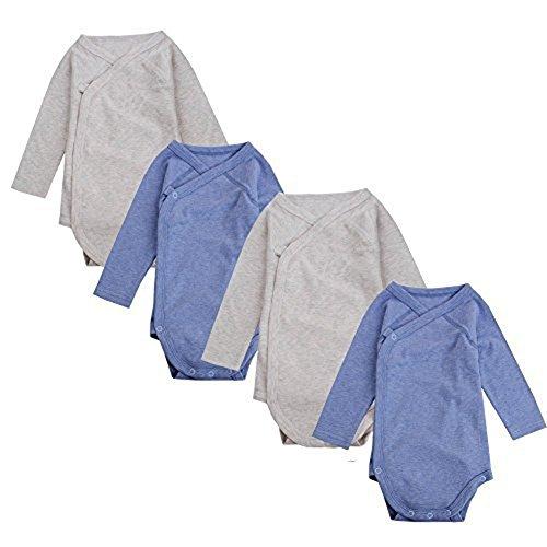 UOMNY Baby Kimono Onesies Long Sleeve Light Grey&Dark Blue 4 Pack (Kimono Long Sleeve Onesie)