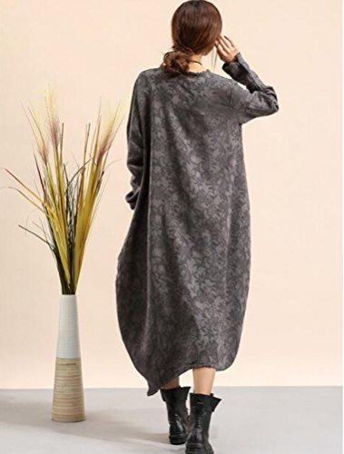Langarm MatchLife Leinen Damen grau Maxi Vintage Kleid Unregelmäßig Style2 Lose Dress Wasserball qErqdw5WH