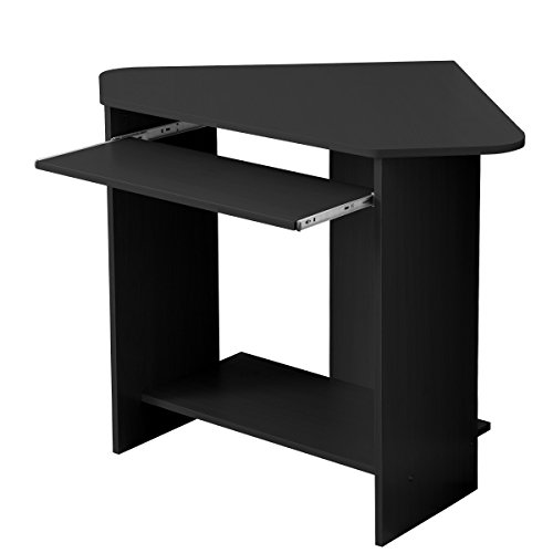 Fineboard Home Office Compact Corner Desk Black Small