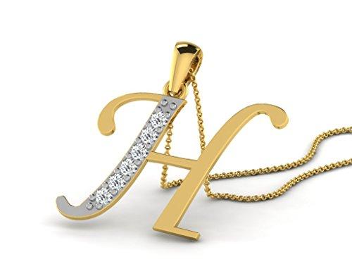 Or Jaune 9 ct Pendentifs Diamant en forme de H alphabet, 0.13 Ct Diamant, GH-SI, 0.55 grammes.