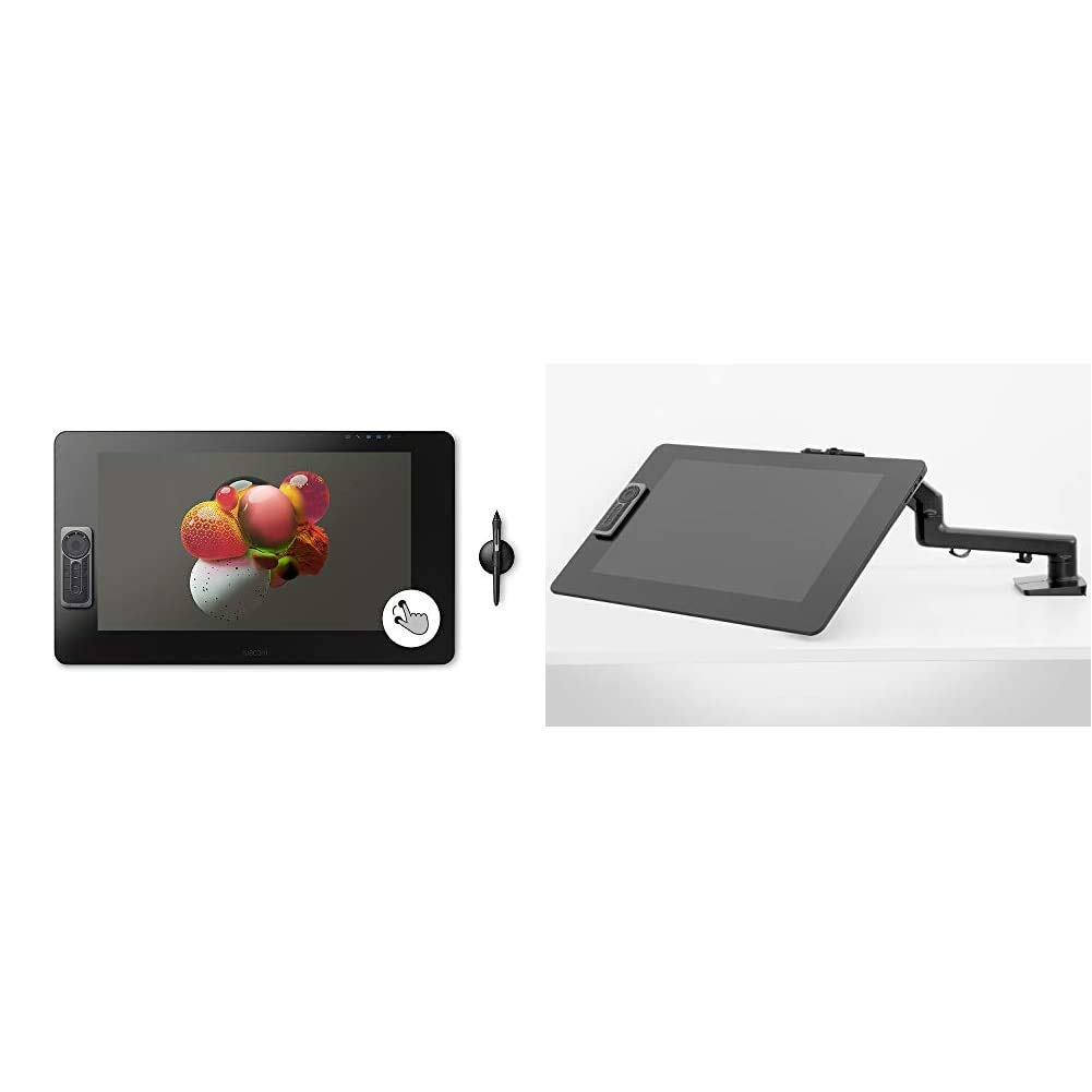 Wacom Cintiq Pro 24 Creative Pen and Touch Display – 4K Graphic Drawing Monitor with 8192 Pen Pressure and 99% Adobe RGB (DTH2420K0), Black & Flex Arm (ACK62803K)