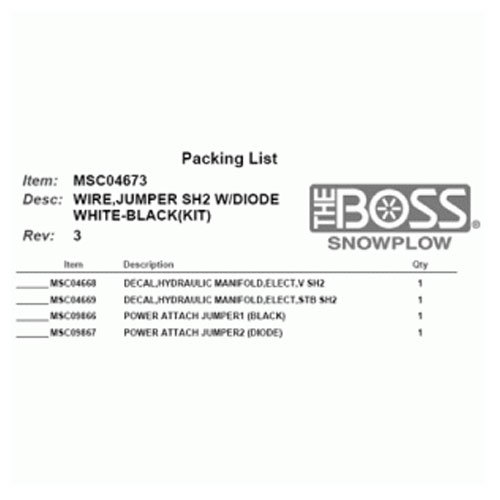 Boss Part # MSC04673 - SmartHitch2 Wiring Harness White and Black