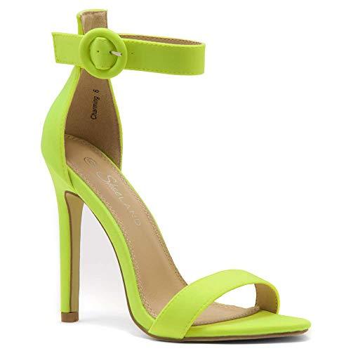 Herstyle Charming Women's Open Toe Ankle Strap Stiletto Heel Dress Sandals Elegant Wedding Party Shoes LimeNeon 6.5 (Thick Stiletto Heels)
