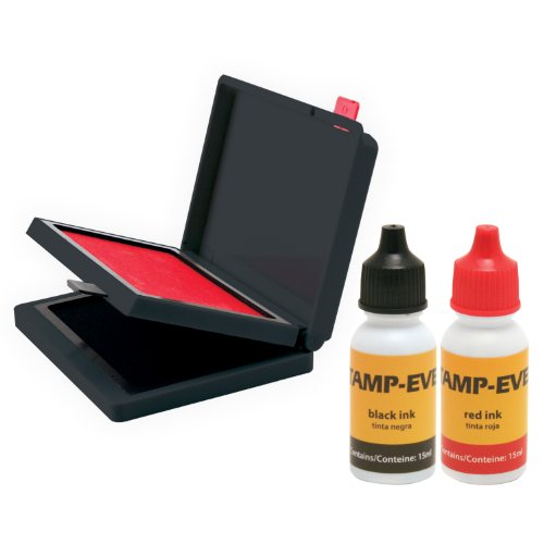 Sign 2 Color Stamp (Stamp-Ever Two Color Pad/Refill Ink, Pads Measure 2-3/8 x 4 Inches Each, Two 15ml Bottles of Refill Ink, Black/Red (6193))
