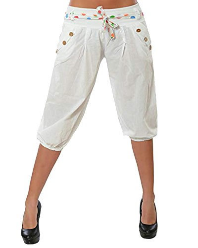 Sbuffo Corti Casuale Bassa Harem Pantaloni Vita Pantalone Larghi Bianco Donne Pantaloncini A qzwII8