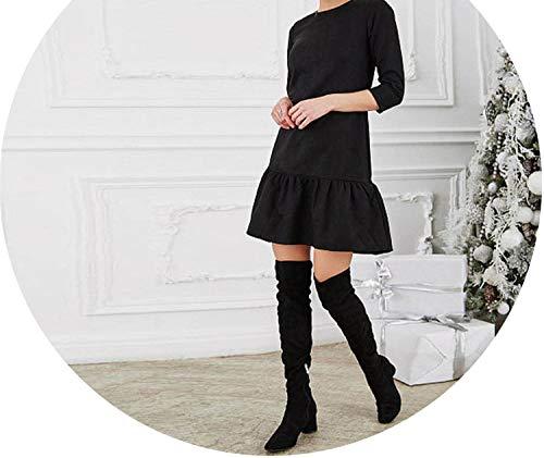 Fall Women Suede Casual Three Quarter Sleeve T Shirt Mini Dress Autumn Winter,Black,4XL