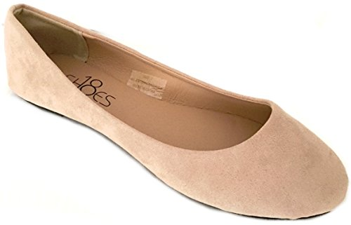 Womens Ballerina Ballet Faux Suede Flat Shoes 3 Colors (10, Nude Micro Suede 8600)