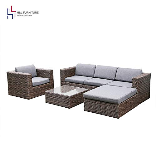 H&L Patio 6PCS Rattan Wicker Sofa Set, Outdoor Garden Furniture, Brown, Cushioned Sofa Set with Ottoman, No Assembly Required