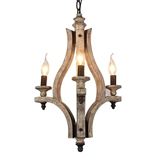DOCHEER Vintage Rustic Wooden Chandelier 3-Light Retro Wood Metal Chandeliers Pendant Lamp Fixture Lighting for Kitchen Island, Dining Room -