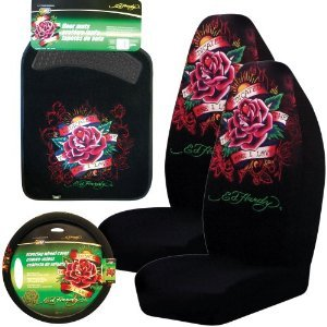 Ed Hardy Dedicated to the One I Love 5-pc Set Seat Covers, Floor Mats, Steering Wheel Cover (Ed Hardy Accessories)