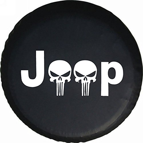 DKiigame Skull Spare Tire Cover,Wheel Protectors,Weatherproof Vinyl Leather,For Jeep Wrangler Sahara,Hummer H3,Toyota FJ (Hummer Wheel Covers)