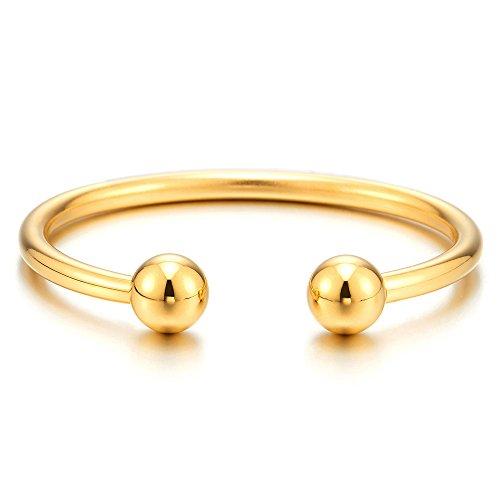 COOLSTEELANDBEYOND Elastic Adjustable Gold Stainless Steel Ball Cuff Bangle Bracelet for Men Women Polished