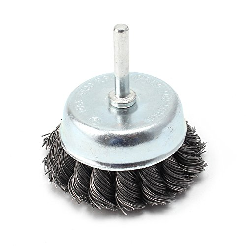 3 Inch Steel Knotted Wire Cup Brush For Removal of Rust / Corrosion / Paint - Reduced Wire Breakage and Longer Life ()
