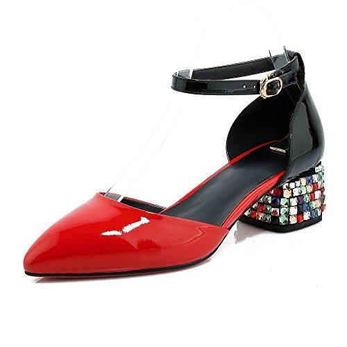 Señaló al Sandalias Tacones Mujer Red Bloque Tobillo Mei amp;S la Toe ZHnaqwBAOx