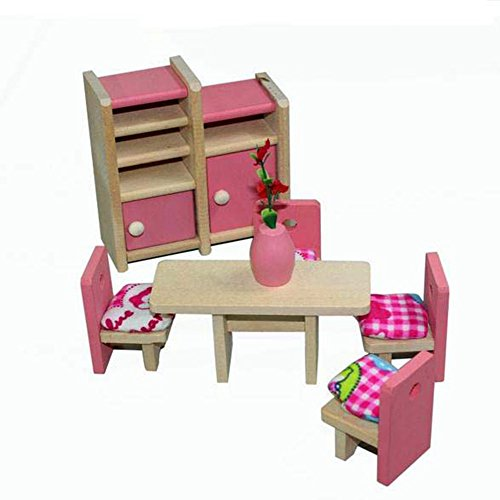 Goodplay 12piece Pink Wooden Dolls Toy Baby Kids Dining Room Pretend Play Toy Miniature Dining Room Dollhouse Furniture set with Wooden Happy Doll Family of 6 People