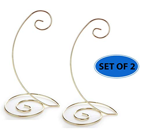 (Home-X - Spiral Ornament Stand (Set of 2), Durable Metal Display Stand Works Great for Both Heavy & Light Ornaments, Elegant Design Pairs Nicely with Most Home Decor)