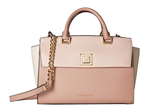 MICHAEL Michael Kors Sylvia Large Tri-Color Crossgrain Leather Satchel Bag, Soft Pink Cream ()