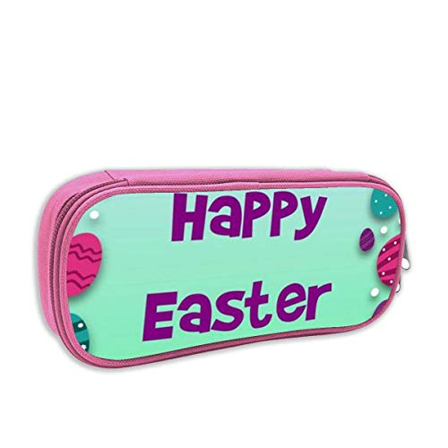 Happy Easter Pencil Case Big Capacity Pencil Bag Makeup Pen Pouch Durable Stationery with Double Zipper Pen Holder for Office