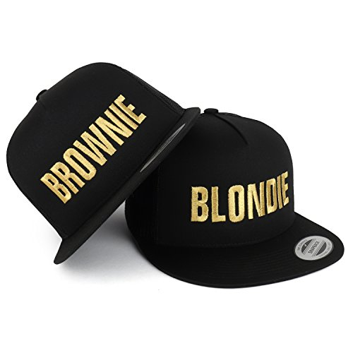 Trendy Apparel Shop Blondie and Brownie Gold Embroidered 5 Panel Flat Bill Trucker Mesh Cap - 2pc Set - Black by Trendy Apparel Shop