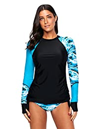 Minqi Women's Rashguard Long Sleeve UV Rash Guard Shirt Swimwear Bathing Suit S-3XL