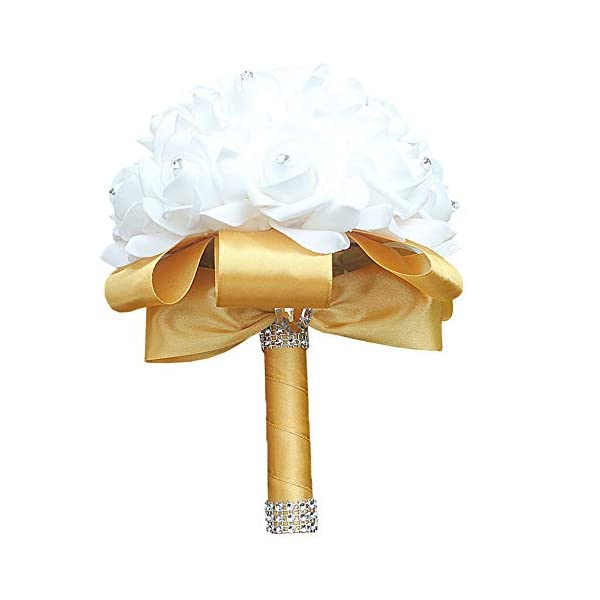 Flonding Wedding Bouquet Handmade PE Bouquets for Bride Bridesmaids with Soft Ribbons Artificial Rose Bridal Holding Flowers for Wedding Party Church (Gold, Pack of 4)